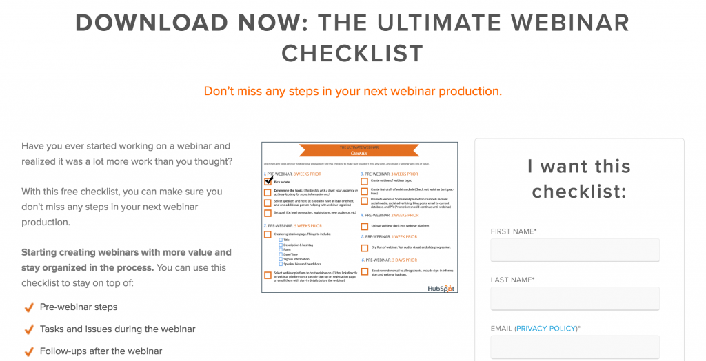 checklist lead magnet