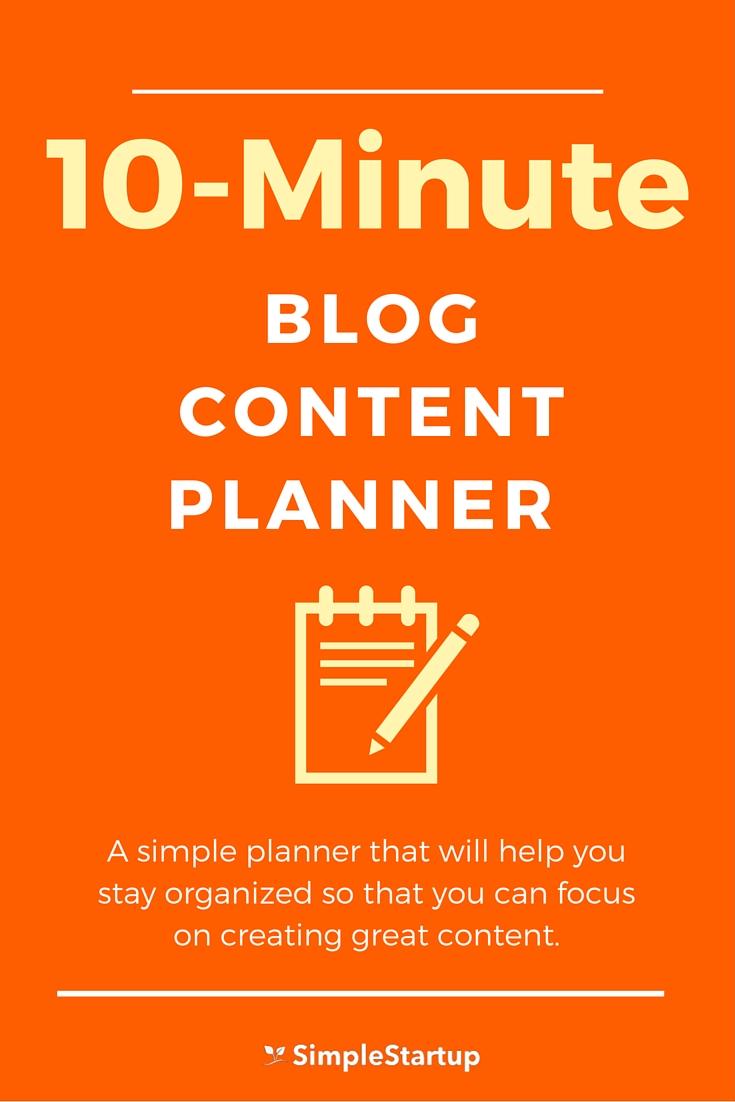 10 minute blog planner