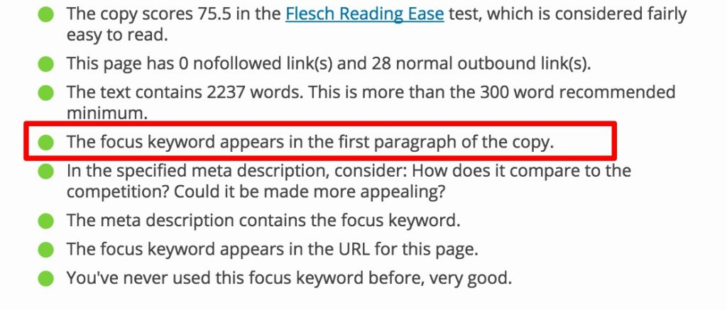 yoast first paragraph seo